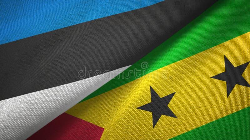 Paño de la materia textil de las banderas de Estonia y de Sao Tome and Principe dos, textura de la tela stock de ilustración