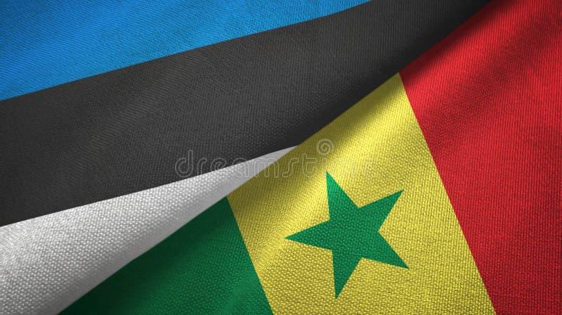 Paño de la materia textil de las banderas de Estonia y de Senegal dos, textura de la tela libre illustration