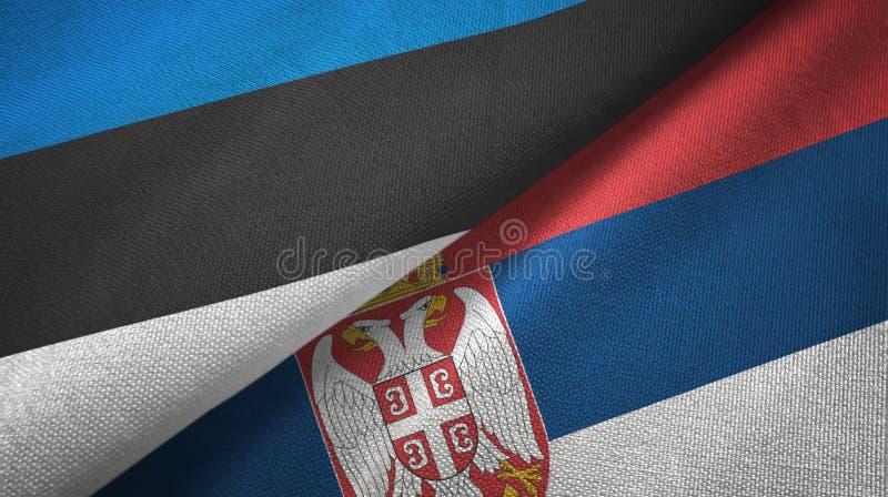 Paño de la materia textil de las banderas de Estonia y de Serbia dos, textura de la tela libre illustration