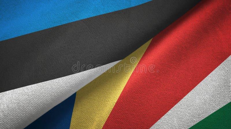 Paño de la materia textil de las banderas de Estonia y de Seychelles dos, textura de la tela libre illustration