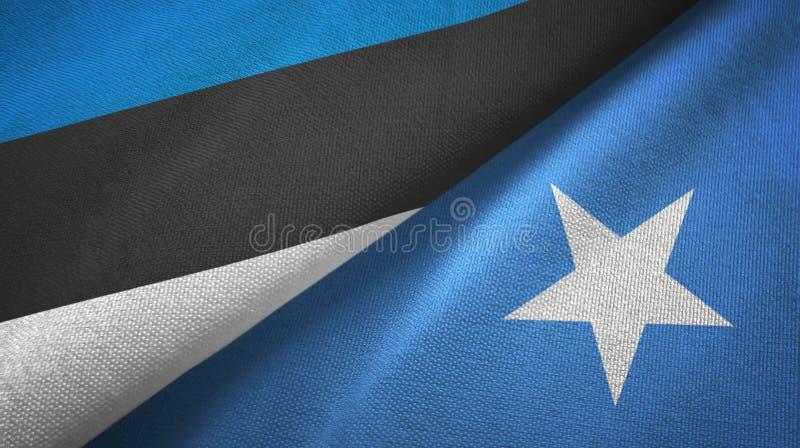 Paño de la materia textil de las banderas de Estonia y de Somalia dos, textura de la tela libre illustration