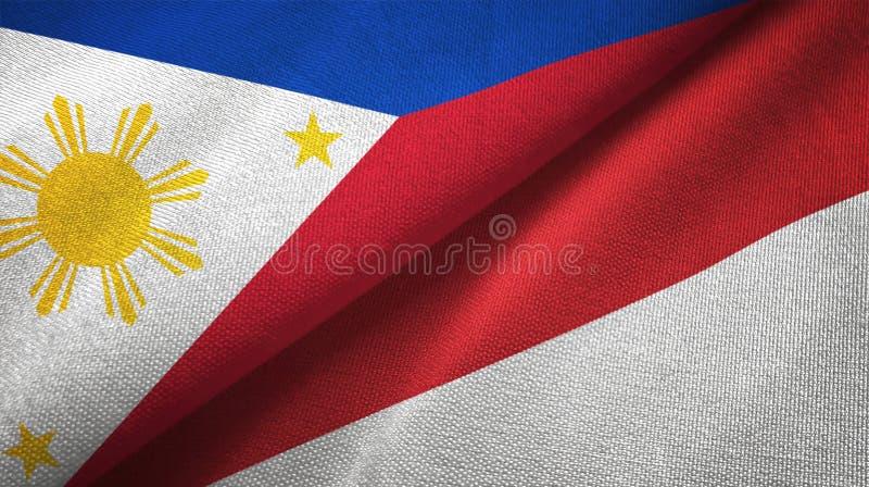 Paño de la materia textil de las banderas de Filipinas y de Indonesia dos, textura de la tela libre illustration