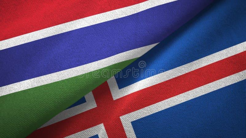 Paño de la materia textil de las banderas de Gambia y de Islandia dos, textura de la tela stock de ilustración