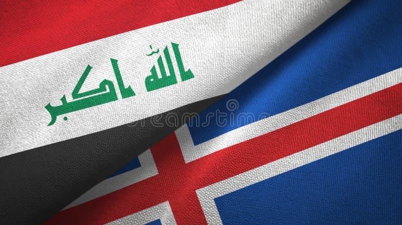 Paño de la materia textil de las banderas de Iraq y de Islandia dos, textura de la tela stock de ilustración