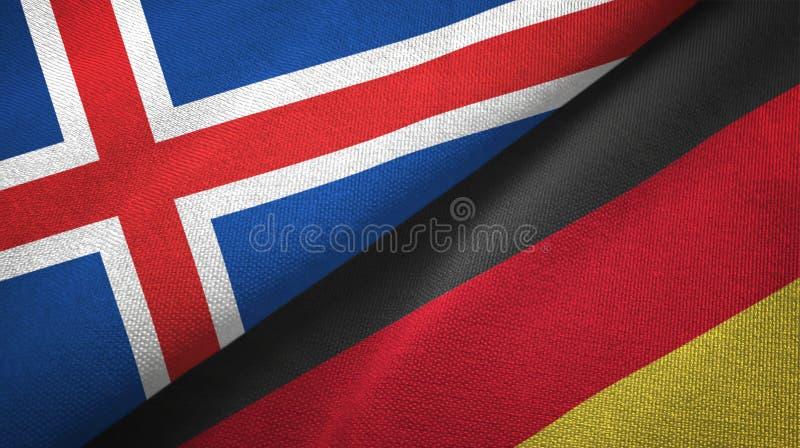 Paño de la materia textil de las banderas de Islandia y de Alemania dos, textura de la tela libre illustration