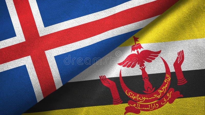 Paño de la materia textil de las banderas de Islandia y de Brunei dos libre illustration
