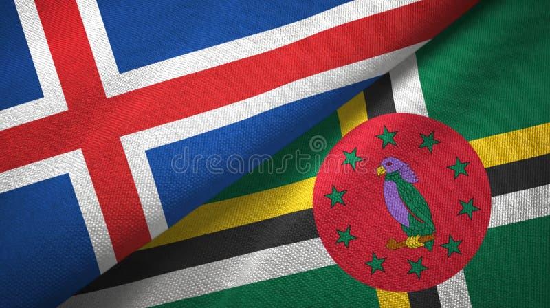 Paño de la materia textil de las banderas de Islandia y de Dominica dos, textura de la tela stock de ilustración