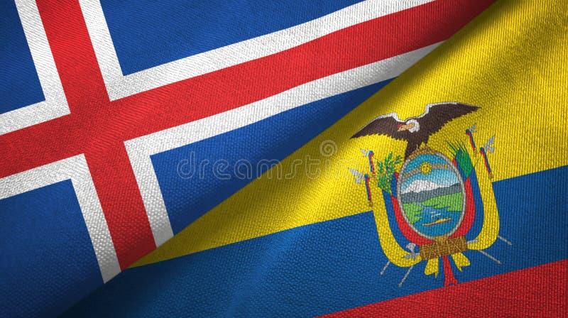 Paño de la materia textil de las banderas de Islandia y de Ecuador dos, textura de la tela libre illustration