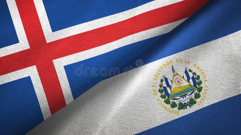 Paño de la materia textil de las banderas de Islandia y de El Salvador dos, textura de la tela stock de ilustración