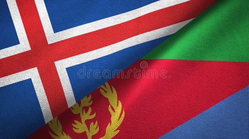 Paño de la materia textil de las banderas de Islandia y de Eritrea dos, textura de la tela libre illustration