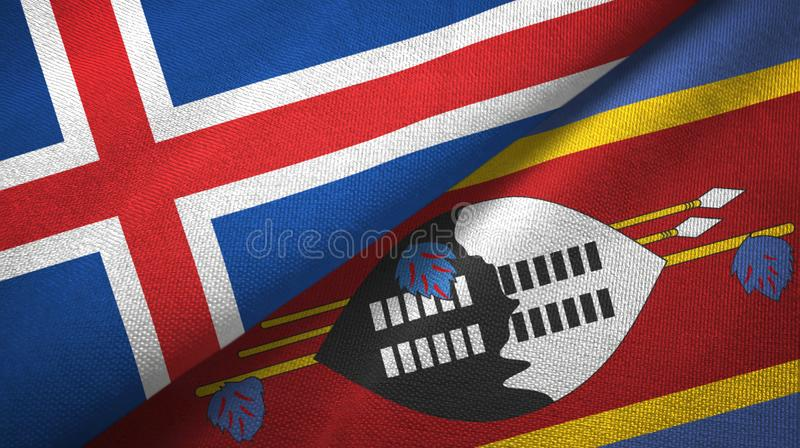 Paño de la materia textil de las banderas de Islandia y de Eswatini Swazilandia dos libre illustration