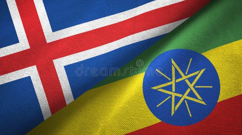 Paño de la materia textil de las banderas de Islandia y de Etiopía dos, textura de la tela ilustración del vector