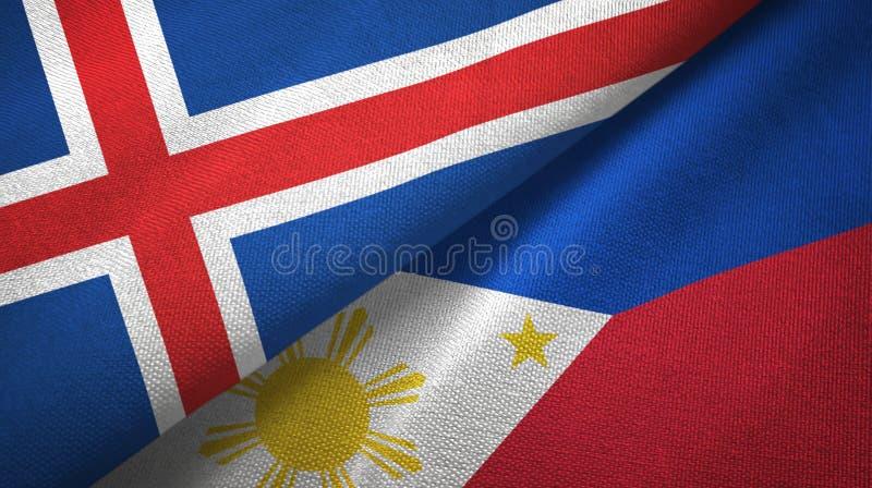 Paño de la materia textil de las banderas de Islandia y de Filipinas dos, textura de la tela libre illustration