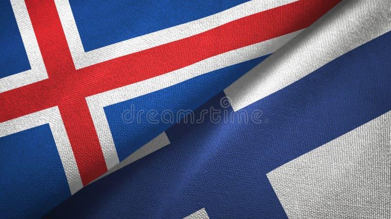 Paño de la materia textil de las banderas de Islandia y de Finlandia dos, textura de la tela libre illustration