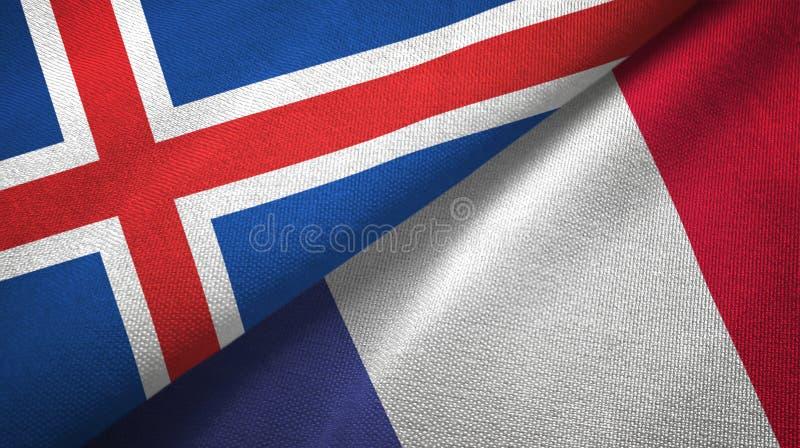 Paño de la materia textil de las banderas de Islandia y de Francia dos, textura de la tela libre illustration