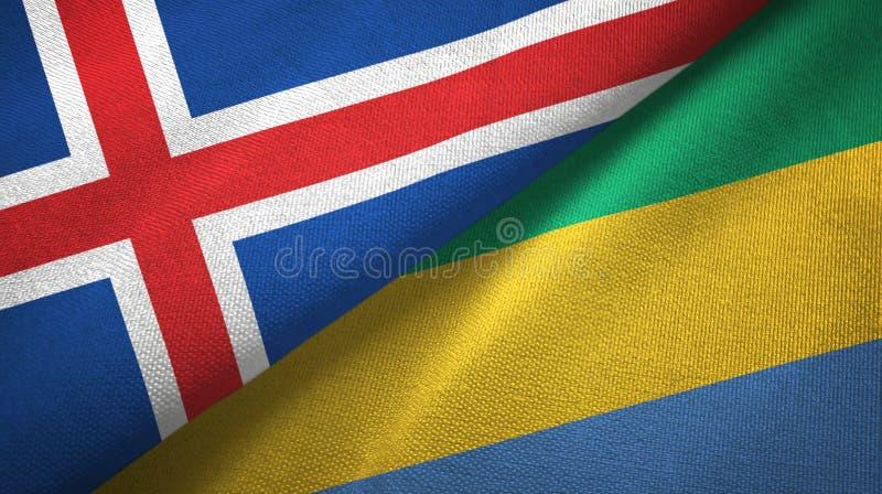 Paño de la materia textil de las banderas de Islandia y de Gabón dos, textura de la tela stock de ilustración