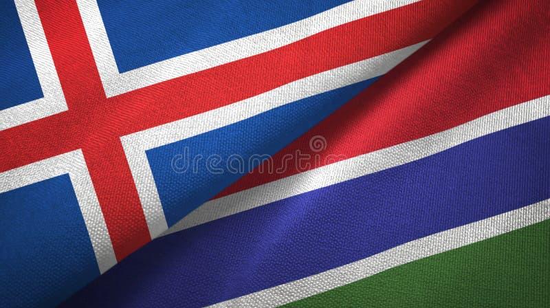 Paño de la materia textil de las banderas de Islandia y de Gambia dos, textura de la tela stock de ilustración
