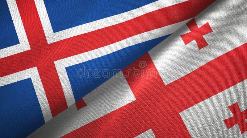 Paño de la materia textil de las banderas de Islandia y de Georgia dos, textura de la tela libre illustration
