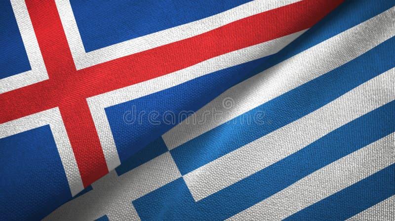 Paño de la materia textil de las banderas de Islandia y de Grecia dos, textura de la tela libre illustration