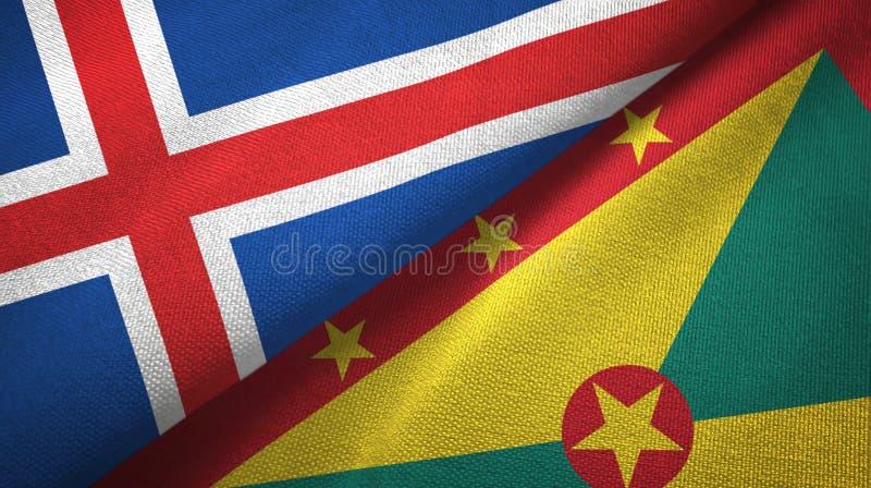 Paño de la materia textil de las banderas de Islandia y de Grenada dos, textura de la tela ilustración del vector