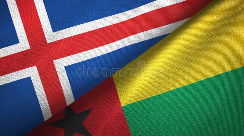 Paño de la materia textil de las banderas de Islandia y de Guinea-Bissau dos, textura de la tela stock de ilustración