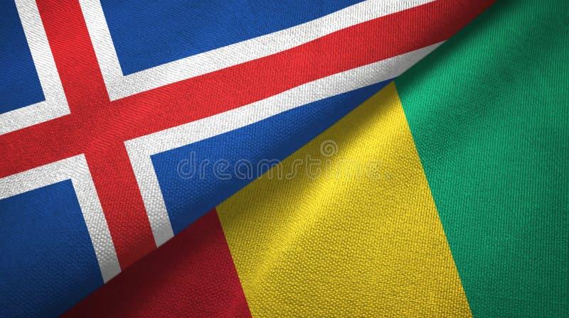 Paño de la materia textil de las banderas de Islandia y de Guinea dos, textura de la tela stock de ilustración