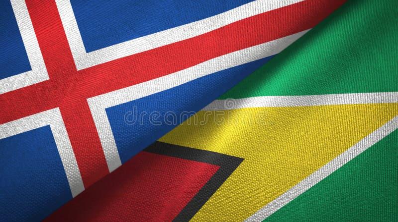 Paño de la materia textil de las banderas de Islandia y de Guyana dos, textura de la tela stock de ilustración