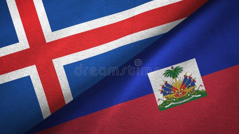 Paño de la materia textil de las banderas de Islandia y de Haití dos, textura de la tela stock de ilustración
