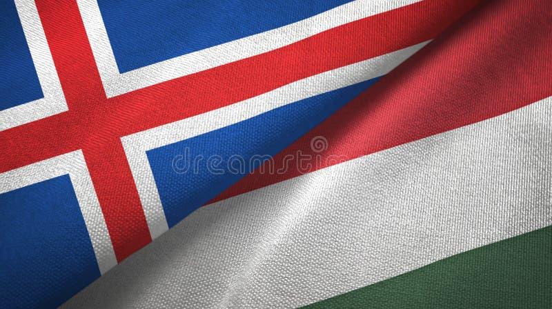 Paño de la materia textil de las banderas de Islandia y de Hungría dos, textura de la tela libre illustration