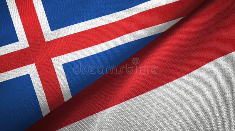 Paño de la materia textil de las banderas de Islandia y de Indonesia dos, textura de la tela libre illustration
