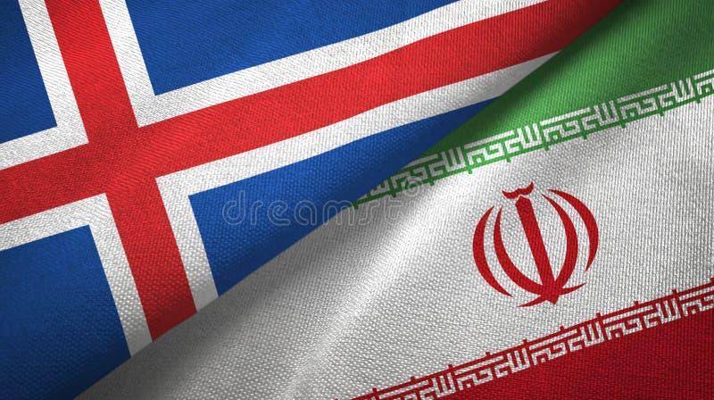 Paño de la materia textil de las banderas de Islandia y de Irán dos, textura de la tela stock de ilustración