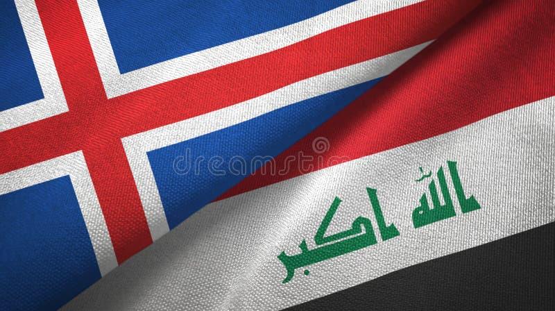 Paño de la materia textil de las banderas de Islandia y de Iraq dos stock de ilustración