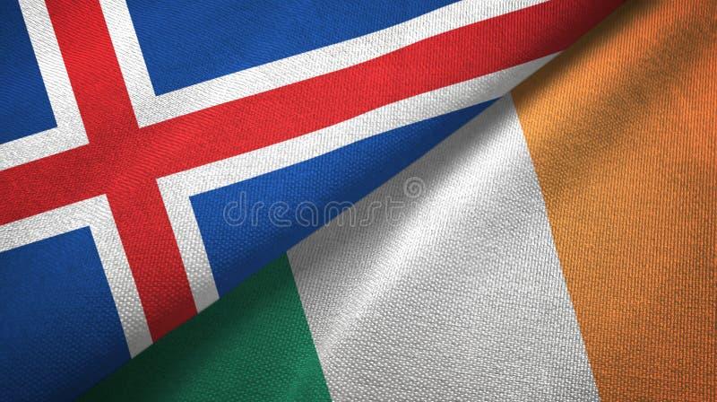 Paño de la materia textil de las banderas de Islandia y de Irlanda dos, textura de la tela libre illustration
