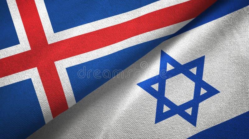 Paño de la materia textil de las banderas de Islandia y de Israel dos, textura de la tela ilustración del vector