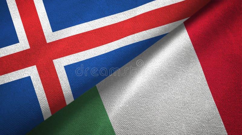 Paño de la materia textil de las banderas de Islandia y de Italia dos, textura de la tela libre illustration