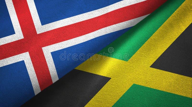 Paño de la materia textil de las banderas de Islandia y de Jamaica dos, textura de la tela ilustración del vector