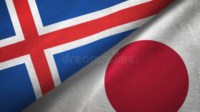 Paño de la materia textil de las banderas de Islandia y de Japón dos, textura de la tela stock de ilustración