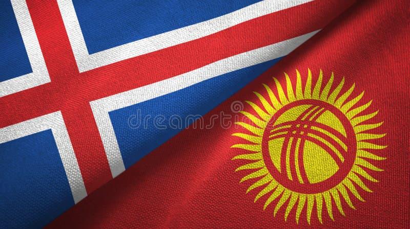 Paño de la materia textil de las banderas de Islandia y de Kirguistán dos, textura de la tela libre illustration