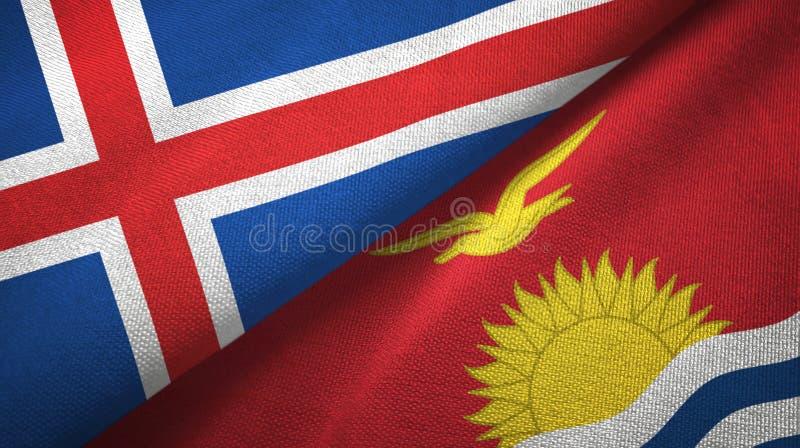 Paño de la materia textil de las banderas de Islandia y de Kiribati dos, textura de la tela ilustración del vector