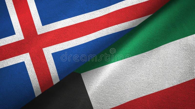 Paño de la materia textil de las banderas de Islandia y de Kuwait dos, textura de la tela stock de ilustración
