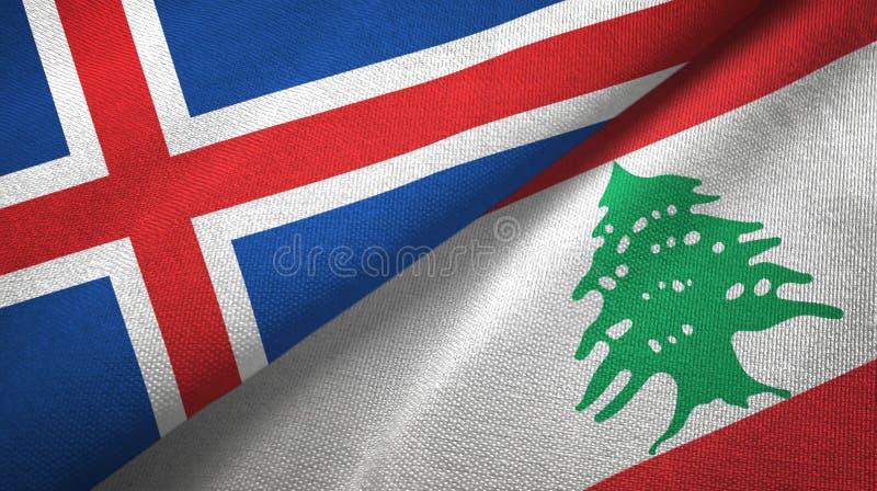 Paño de la materia textil de las banderas de Islandia y de Líbano dos, textura de la tela stock de ilustración
