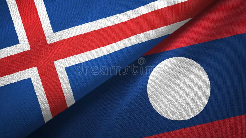 Paño de la materia textil de las banderas de Islandia y de Laos dos stock de ilustración