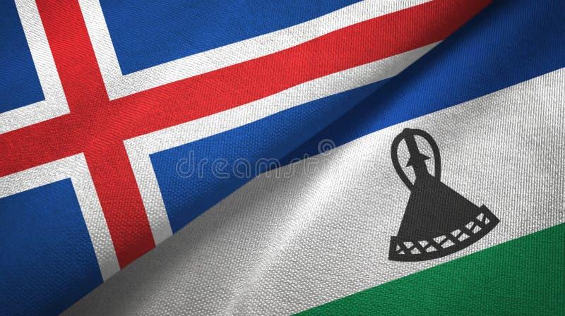 Paño de la materia textil de las banderas de Islandia y de Lesotho dos, textura de la tela ilustración del vector