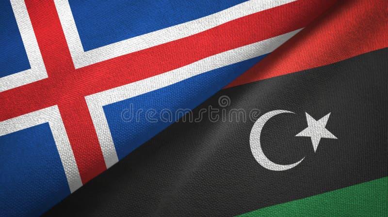 Paño de la materia textil de las banderas de Islandia y de Libia dos, textura de la tela ilustración del vector