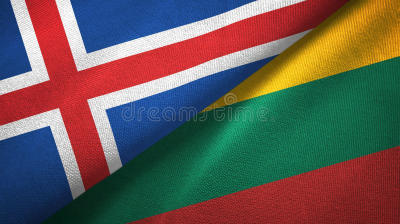Paño de la materia textil de las banderas de Islandia y de Lituania dos, textura de la tela libre illustration