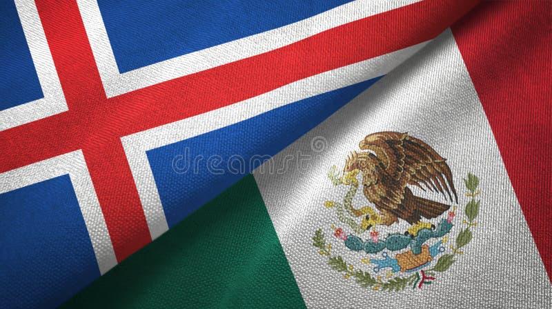 Paño de la materia textil de las banderas de Islandia y de México dos, textura de la tela stock de ilustración