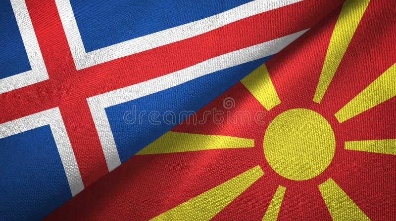 Paño de la materia textil de las banderas de Islandia y de Macedonia dos, textura de la tela stock de ilustración