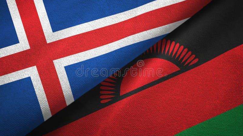Paño de la materia textil de las banderas de Islandia y de Malawi dos, textura de la tela stock de ilustración