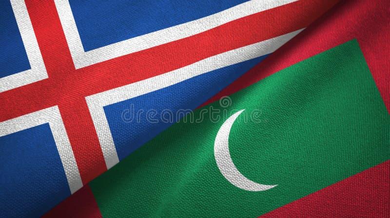Paño de la materia textil de las banderas de Islandia y de Maldivas dos, textura de la tela stock de ilustración