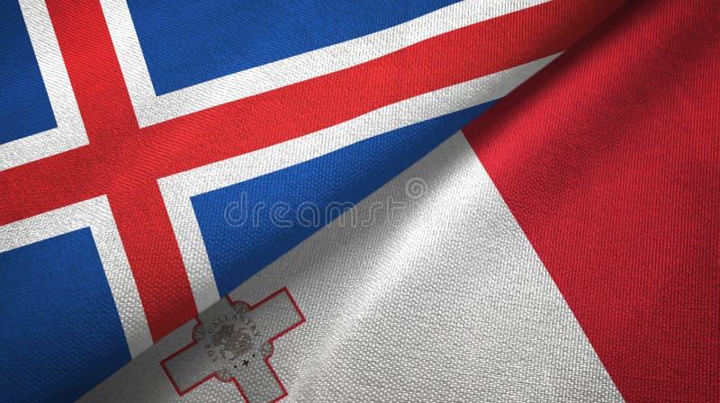 Paño de la materia textil de las banderas de Islandia y de Malta dos, textura de la tela stock de ilustración